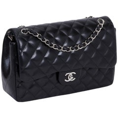 Chanel Black Lambskin Jumbo Double Flap Bag