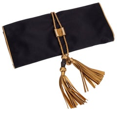 Gucci Black Silk Gold Tassel Clutch Bag