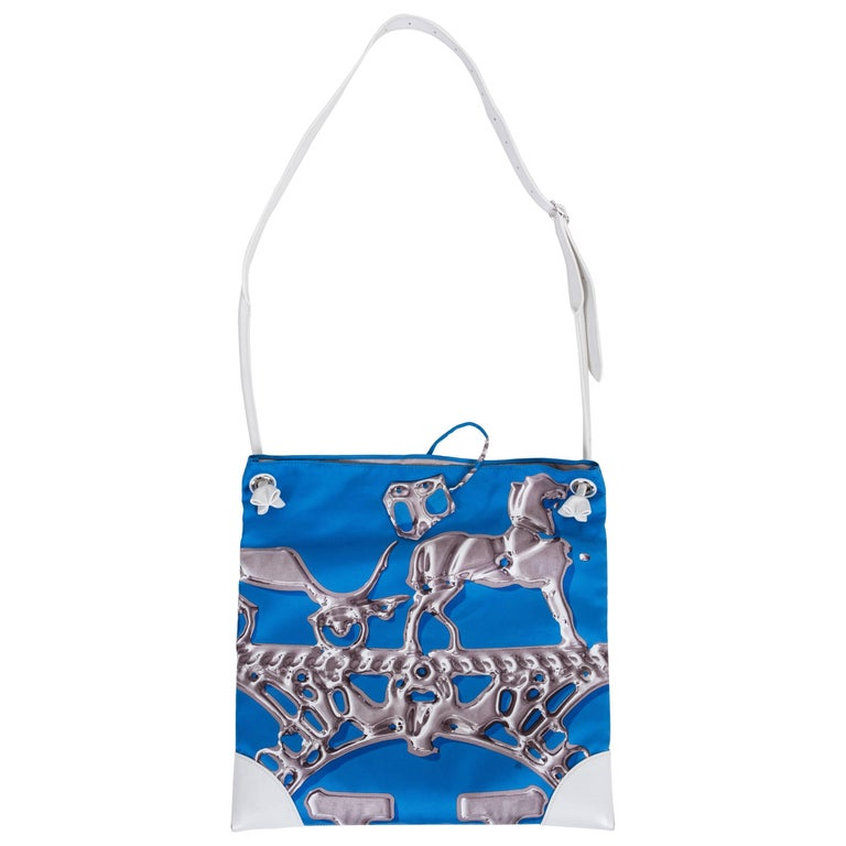Hermes Blue Silk and White Leather Tote