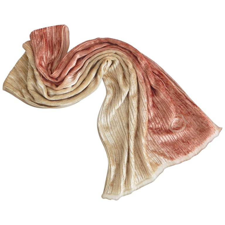 1980s Gucci Soft Orange and Creme Velvet and Silk Scarf