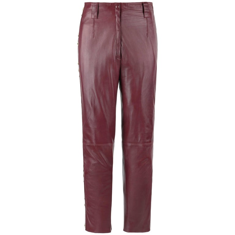 ROBERTO CAVALLI Burgundy Leather Studded Embellished Ankle Length Pants Trousers