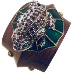 Mahogany Wood Cuff with Crystal Covered Frog on Enamel Lily Pad