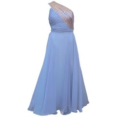1960's Lilli Diamond Shoulder Baring Sequin & Chiffon Evening Dress