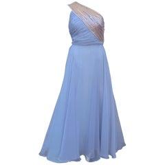 1960's Lilli Diamond Shoulder Baring Sequin & Chiffon Evening Dress