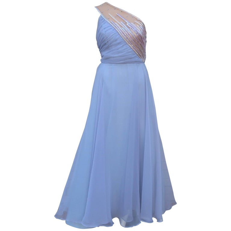 1960's Lilli Diamond Shoulder Baring Sequin & Chiffon Evening Dress For Sale