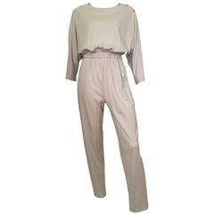 Jean St. Germain 1980s Cotton Grey Jumpsuit with Pockets Size 4 / 6.