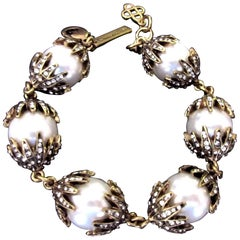 Oscar De La Renta Signed Faux Pearl and Faux Diamond Statement Bracelet