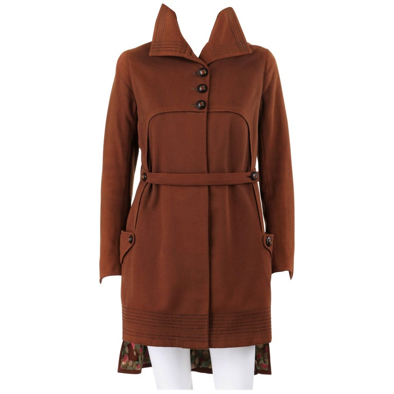 COUTURE c.1910's Edwardian WWI Brown Wool Belted Military Belted Walking Coat
