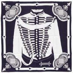 Hermes Brandebourgs Black Silk Scarf New