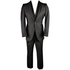 Men's BOTTEGA VENETA 40 Regular Black Wool / Silk Piping 3pc Tuxedo