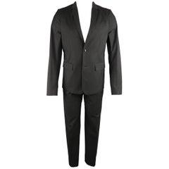 Men's HELMUT LANG 38 Charcoal Cotton Layered Vest Jacket Suit