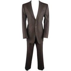 Men's GUCCI 42 Brown Chalk Stripe Wool Notch Lapel 2 pc Suit