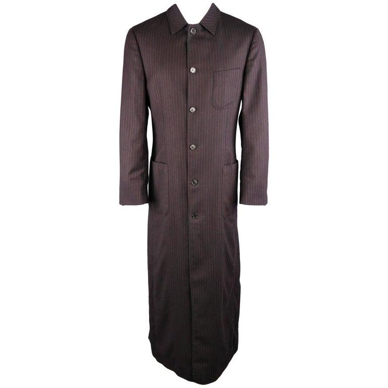 Men's ROMEO GIGLI 38 Black & Red Pinstripe Wool Full Length Over Coat For Sale