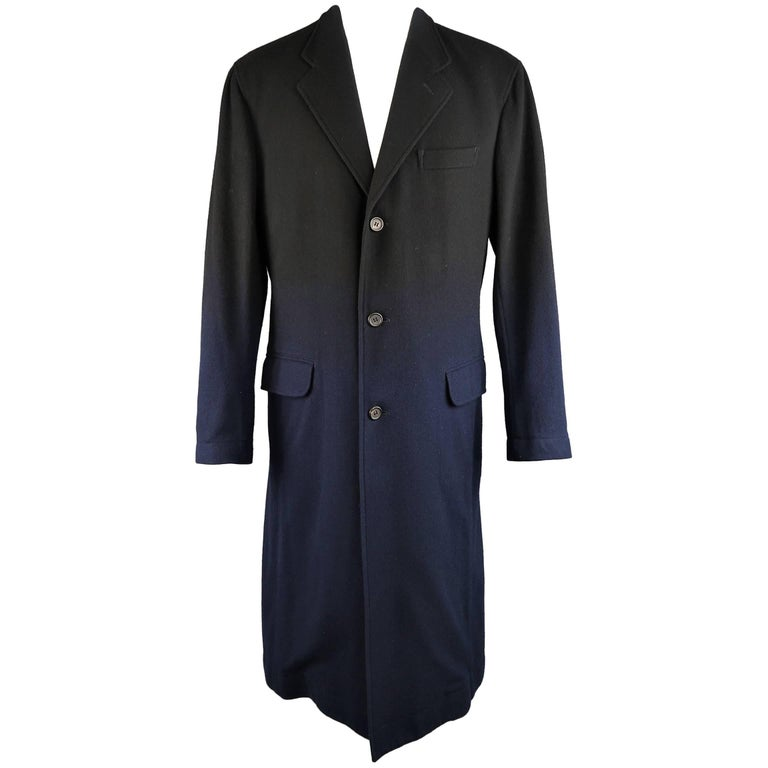 ISSEY MIYAKE XL Black & Navy Ombre Wool Blend Notch Lapel Over Coat For Sale