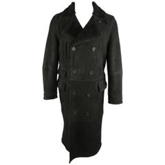 Ralph Lauren Polo Men's Black Shearling Double Breasted Pea Coat