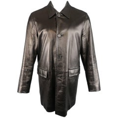Men's   PRADA 40 Black Smooth Leather Collared Single Breasted Car Coat