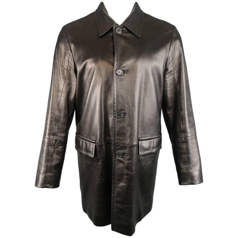 Men's   PRADA 40 Black Smooth Leather Collared Single Breasted Car Coat