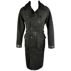 POLO RALPH LAUREN 42 Black Shearling Fur Collar Belted Over Coat