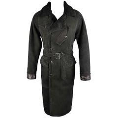 POLO RALPH LAUREN 42 Black Shearling Fur Collar Belted Over Coat