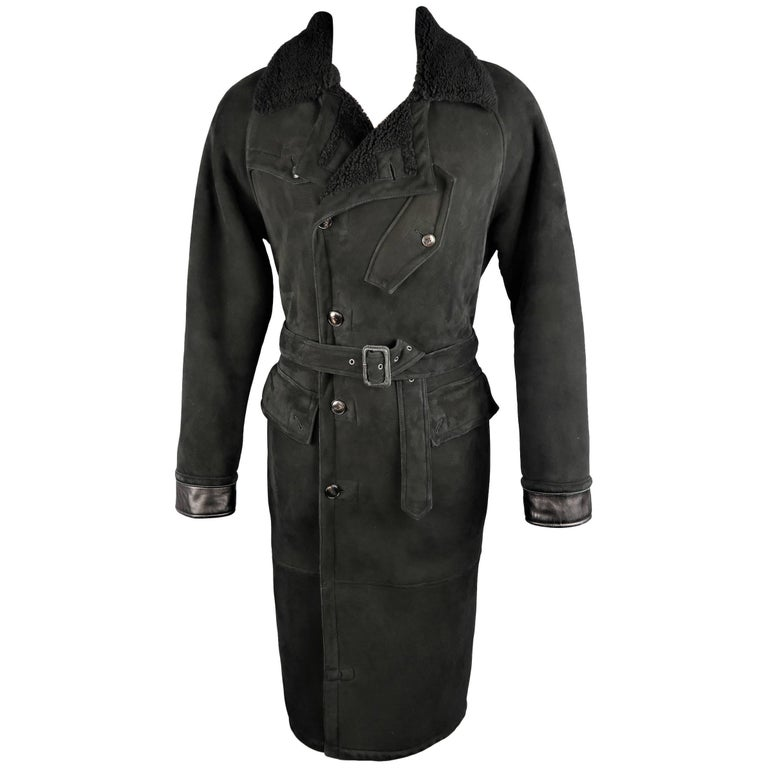 Polo Ralph Lauren Black Shearling Fur Collar Belted Over Coat For Sale