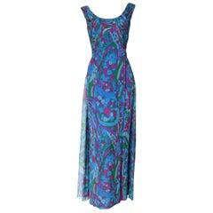 Colorful 1960s Floral Silk Chiffon Evening Dress by Gothé
