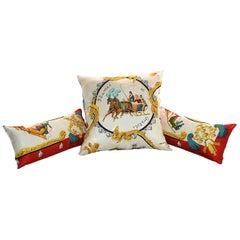 "Vintage Hermès Silk Scarf 3 Pillow Set ""Plumes et Grelots"" iwj4427-1"