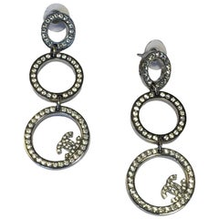 CHANEL Dangle Earrings in Silver Plated Metal set with Rhinestones