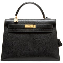 HERMES 'Kelly 32' in black Ardennes Cowhide with Stitching Saddler