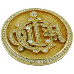 Christian Dior Vintage Diamante Logo Brooch