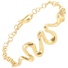 Giulia Barela Gold Plated Bronze Ribbon Bracelet