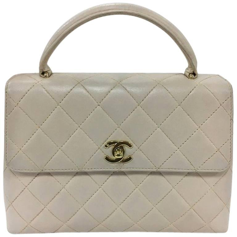 Chanel Vintage Classic Top Handle Flap Bag Quilted Lambskin Medium For Sale 927b829047f92