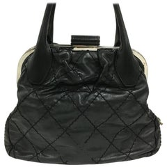 Chanel Expandable Zip Around Frame Bag Quilted Leather Large