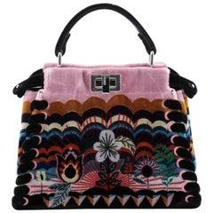 Fendi Peekaboo Handbag Embroidered Velvet Mini