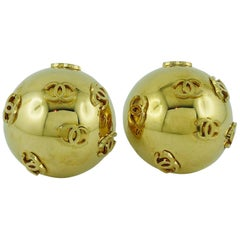 Chanel Vintage 1992 Oversized Dome Clip-On Earrings with CC Logos