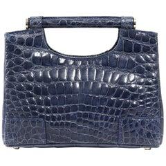 2000s Colombo Blue Grey Crocodile Leather Handbag