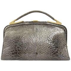 1990s Olive Green Crocodile Leather Handbag