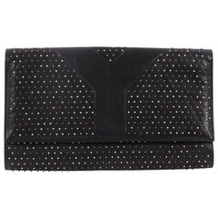 Saint Laurent Y Clutch Studded Leather Medium