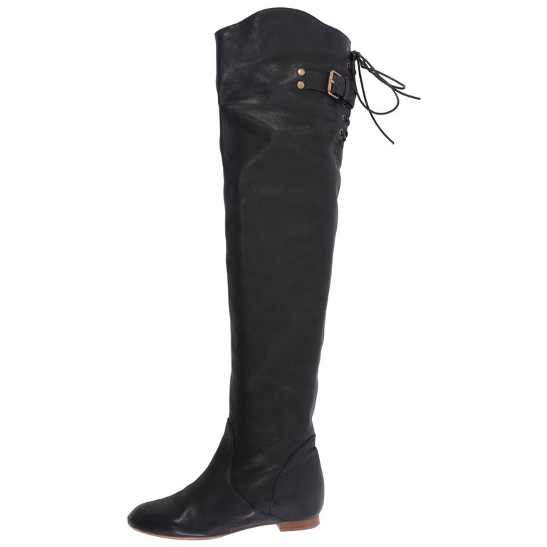 Chloe Black Leather Thigh Flat Boots