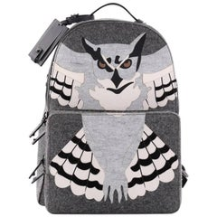 Valentino Owl Backpack Wool and Leather