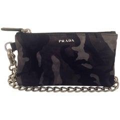 Prada Saffiano Camouflage Fumo Wristlet/Cosmetic Bag With Silver Tone Chain