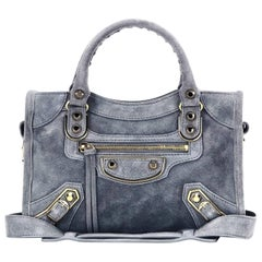 Balenciaga Grey Suede Metallic Edge City Small Crossbody Bag NEW