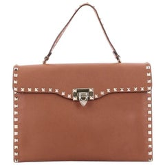 Valentino Rockstud Flip Lock Top Handle Bag Leather Medium