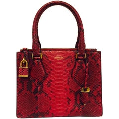 Marvelous Michael Kors Pink Python Casey Top Handle Structured Handbag