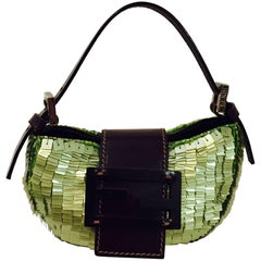 Flirty Fendi Croissant Mini Bag with Green Paillete & Brown Handle & Flap w Logo
