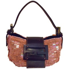 Funky Fendi Mini Pink Paillete Croissant Bag w/ Brown Leather Strap, Flap & Logo