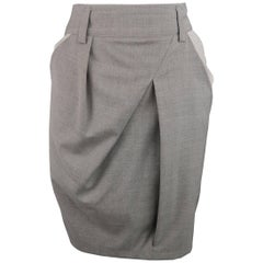 BRUNELLO CUCINELLI Size 4 Gray Wool / Silk Slanted Pleat Color Block Skirt