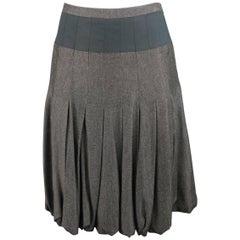 AKRIS Size 4 Gray & Black Bamboo Box Pleated Bubble A Line Skirt