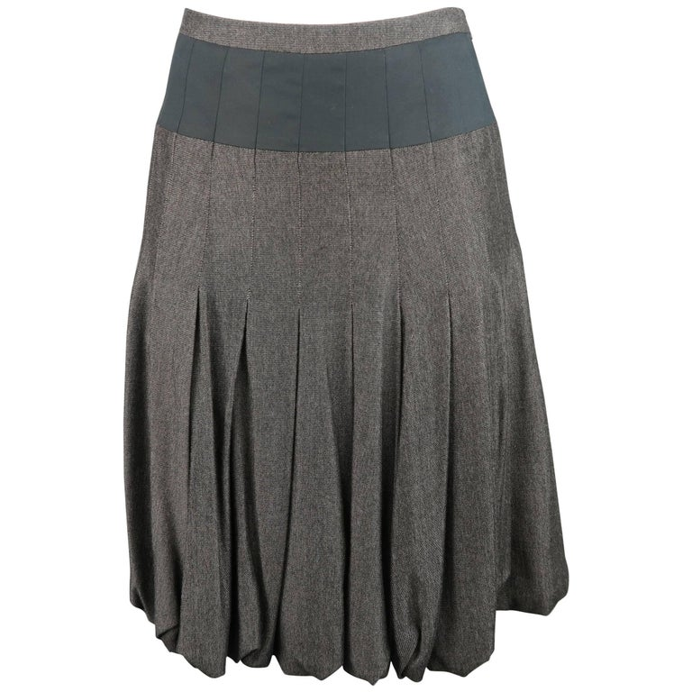AKRIS Size 4 Gray & Black Bamboo Box Pleated Bubble A Line Skirt
