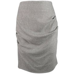 BRUNELLO CUCINELLI Size 8 Gray Tweed Pleated Drap Pencil Skirt