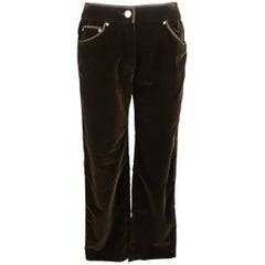 VALENTINO Size 6 Brown Velvet Silk Piping Straight Leg Jeans